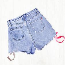 Шорты джинсовые шнуровка ленточка - 518-3021, фото 2