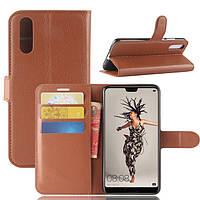Чехол Huawei P20 5.8'' книжка PU-Кожа коричневый