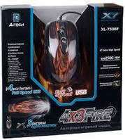 Мышка A-4 Tech XL-750BK black, USB