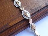 Браслет серебряный с золотыми пластинами, фото 4