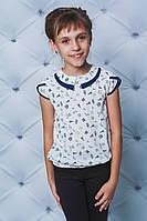 Блуза школьная короткий рукав принт, фото 1