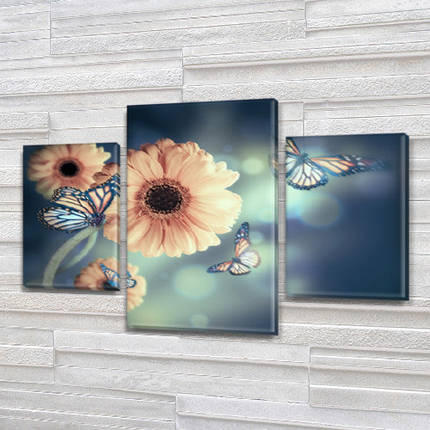 Модульная картина Герберы и бабочки фото на Холсте син., 45х70 см, (30x20-2/45x25), фото 2