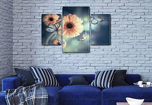 Модульная картина Герберы и бабочки фото на Холсте син., 45х70 см, (30x20-2/45x25), фото 3