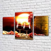 Картины для интерьера на холсте Вино в бакалах, 45х70 см, (30x20-2/45x25)