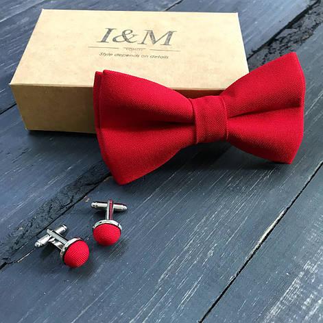 Набор I&M Craft бабочка и запонки красный (500105Z), фото 2