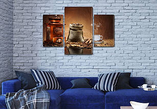 Купить картина модульная Кофе в зернах, на Холсте син., 45х70 см, (30x20-2/45x25), фото 3