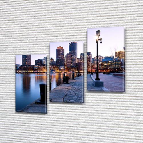 Модульные картины на заказ в трех размерах с тремя материалами, на Холсте син., 70x80 см, (50x25-2/50х25)