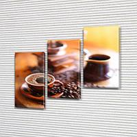 Модульная  картина Чашка кофе  фото на Холсте син., 70x80 см, (50x25-2/50х25)