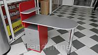 Маникюрный стол с ящиками и полочками серо-красный
