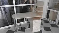 Маникюрный стол с ящиками и полочками дуб молочный