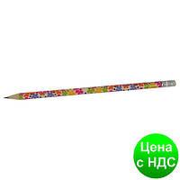 Карандаш графитный FLOWERS HB, с резинкой, туба ZB.2300