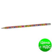 Карандаш графитный FLOWERS HB, с резинкой, туба 20шт. ZB.2300-20