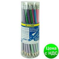 Карандаш графитный SILVER LINE, круглый НВ, ассорти, с ластиком, туба BM.8525