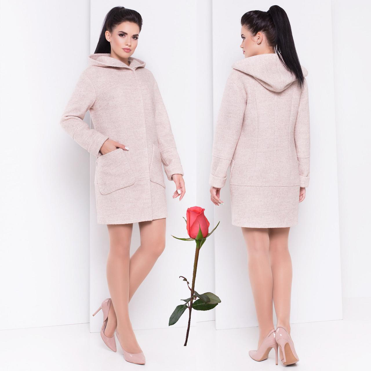 Женское демисезонное короткое пальто с капюшоном М 3299 Бежевый ... f382dbf61a051