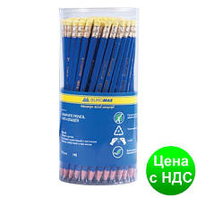 Карандаш графитный НВ JOBMAX, пластиковый, синий, с резинкой, туба BM.8514