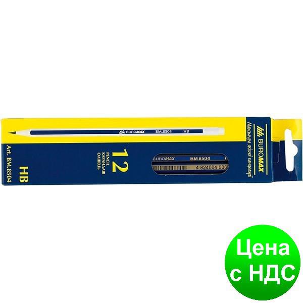 Карандаш графитный НВ, синий, с сререб./золот. гранями, с резинкой, коробка BM.8504