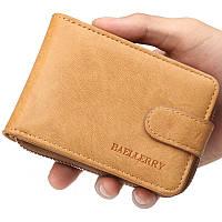 Мужской кошелек BAELLERRY Classic Business кожаный портмоне на кнопке Short Светло-Коричневый (SUN1354)