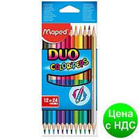 Карандаши цветные COLOR PEPS Duo, двухсторонние 12шт./24 цв. MP.829600
