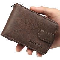 Мужской кошелек BAELLERRY Classic Business кожаный портмоне на кнопке Short Темно-Коричневый (SUN1355)