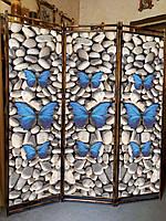 """Ширма """"Бабочки на камушках"""" 170х150см."""