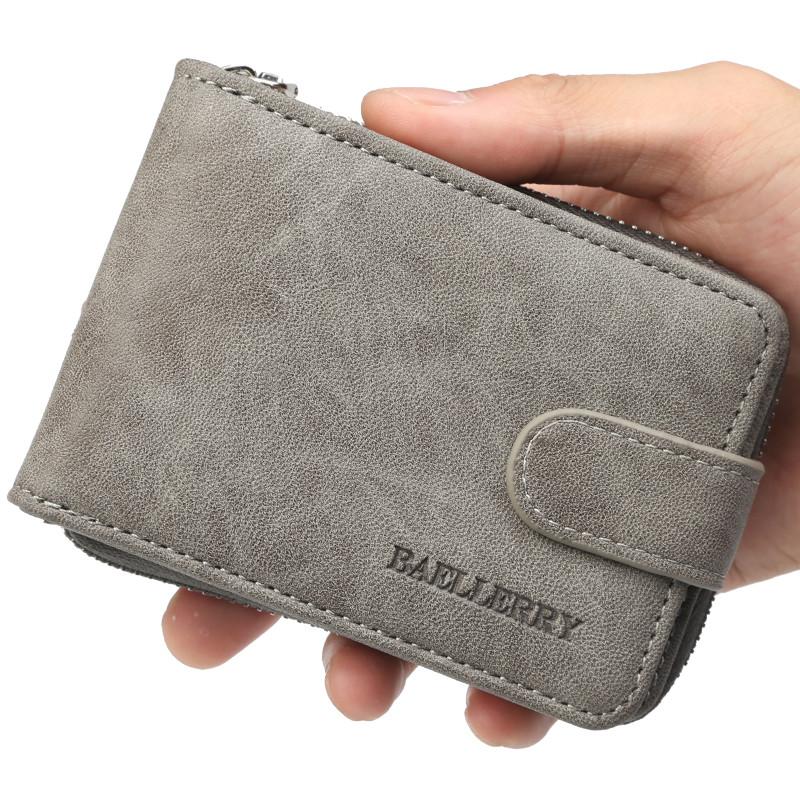 Мужской кошелек BAELLERRY Classic Business кожаный портмоне на кнопке Short Серый (SUN1357)