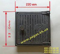 Дверка печная чугунная (210х210 мм) грубу, барбекю, мангал, фото 1