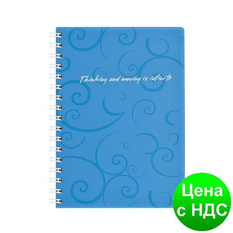 Книжка для записей на пружине Barocco А6, 80 листов, кл., голубой, пласт.обложка BM.2589-614, фото 2