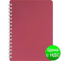 Книжка для записей на пружине CLASSIC  А6, 80 листов, кл., красный, пласт.обложка BM.2589-005