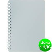 Книжка для записей на пружине CLASSIC  А6, 80 листов, кл., серый, пласт.обложка BM.2589-009