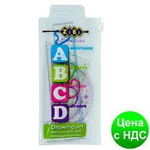"""Комплект """"ABCD"""": Линейка 15см, 2 треугольника, транспортир, прозрачный ZB.5684"""
