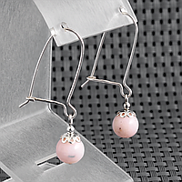 Опал розовый, Ø8 мм., серебро, серьги, 342СРО