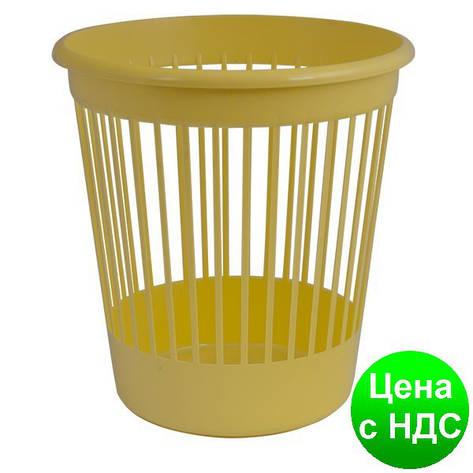 Корзина офисная для бумаги 10л., пластик, желтый 82065, фото 2