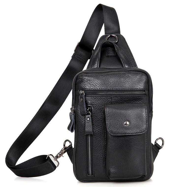 7df7b9494b68 Кожаная сумка рюкзак из натуральной кожи в черном цвете Tiding Bag 4006A -  Интернет-магазин