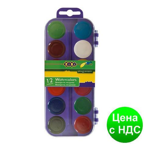 Краски акварельные 12 цв.,  пласт./кор., б/п., фиолетовый ZB.6521-07, фото 2