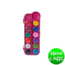 Фарби акварельні 12кол., пласт./кор., з/п., рожевий ZB.6559-10