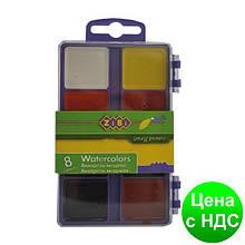 Фарби акварельні 8 кол., пласт./кор., б/п., фіолетовий ZB.6519-07