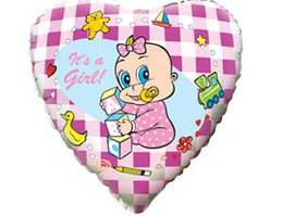 Шар-сердечко с рисунком младенца- девочки