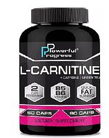L-CARNITINE 1000+caffeine+green tea Powerful Progress 60 капсул , фото 1