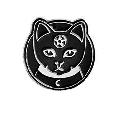 Брошь пин значок черный готический кот