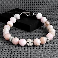 Опал розовый, Ø8 мм., серебро, браслет, 432БРО