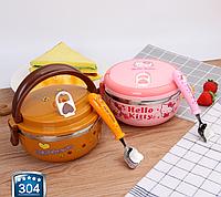 Термо ланч-бокс для детей  ,,Hello Kitty,, и ,,Медвежонок,,  с ложечкой из нержавеющей стали, 0.7 л