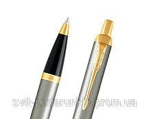 Ручка шариковая Parker IM 17 Brushed Metal GT BP 22 232 в подарок, фото 2