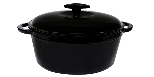 Кастрюля  чугунная эмалированная с чугунной крышкой. Цветная глянцевая. 3,0 литра. Черный, 230х100 мм