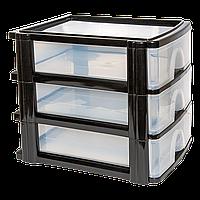Комод 3 ящика формат А-4 прозрачно-черный