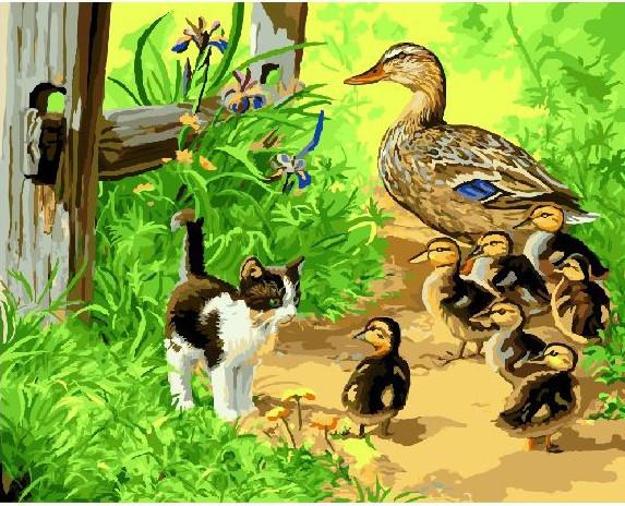 Картина по номерам Утята и котенок, 40x50 см., Brushme