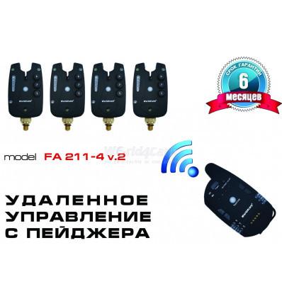 Набор сигнализаторов поклевки World4carp  FA211-4 V2 с пейджером 4+1 (в комплекте кейс)