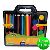 Набор для рисования (Краски, цв.карандаши, Мел восковой, Кисть натуральний, Точилка) ZB.6400