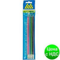 Набор карандашей графитовых HB, SILVER LINE ассорти , с резинкой, 4шт./блистер BM.8522