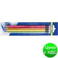 Набор карандашей графитовых HB, ассорти неон, с резинкой, 4шт./блистер BM.8521