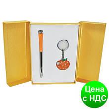 """Набір подарунковий """"Apple"""": ручка кулькова + брелок, помаранчевий LS.122024-11"""